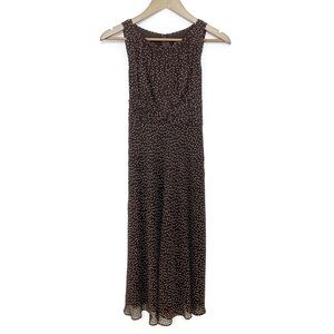 ADRIANNA PAPELL Brown Polka Dot Silk Maxi Dress 4P